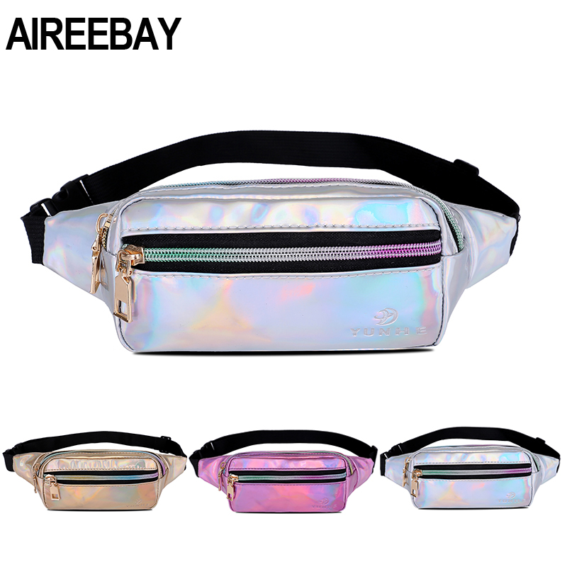 AIREEBAY Fashion Laser Waist Pack For Women Pink Girls Hologram Fanny Packs Casual Money Belts Outdoors Travelling Bags