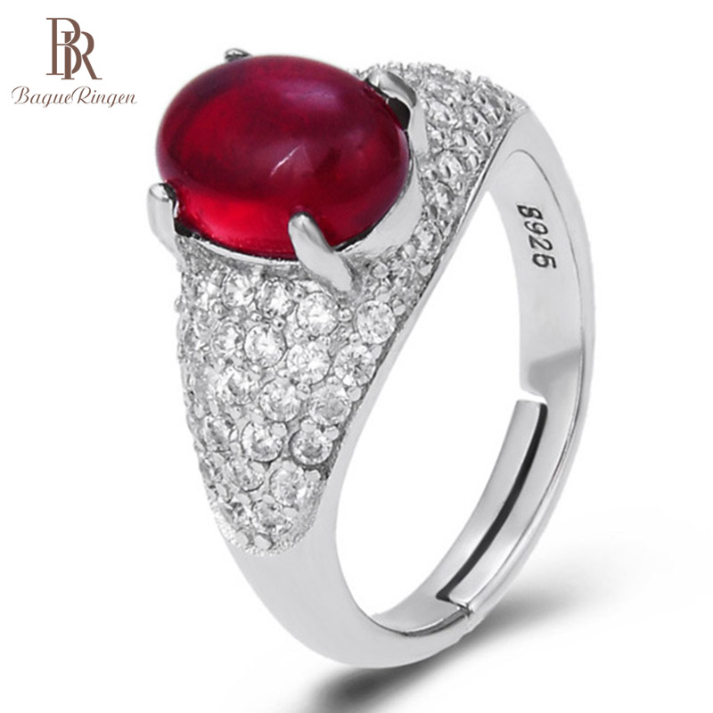 Bague Ringen 100% Sterling Silver Ring With 8*7mm Natural Carnelian Gemstone Women Anniversary Gift Female Accessories Jewerly