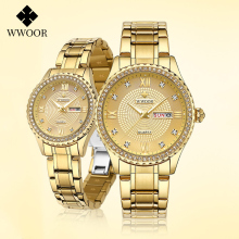 WWOOR 2021 Top Brand Couple Watch Men and Women Fashion Luxury Diamond Stainless Gold Quartz Pair Lovers Watch Gift For Birthday