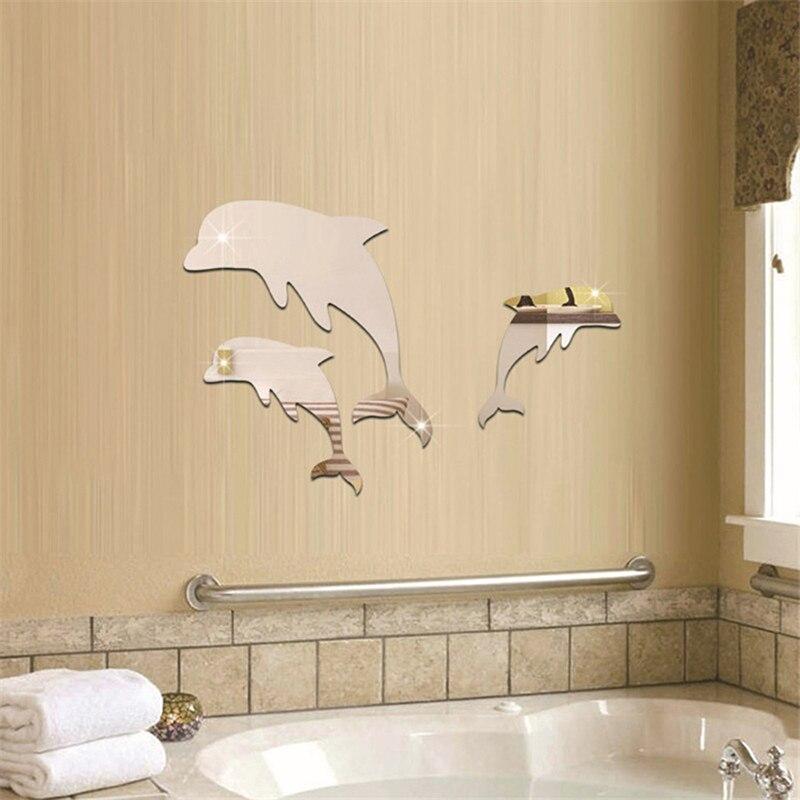 3 шт/компл украшение для комнаты Зеркальная Наклейка на стену