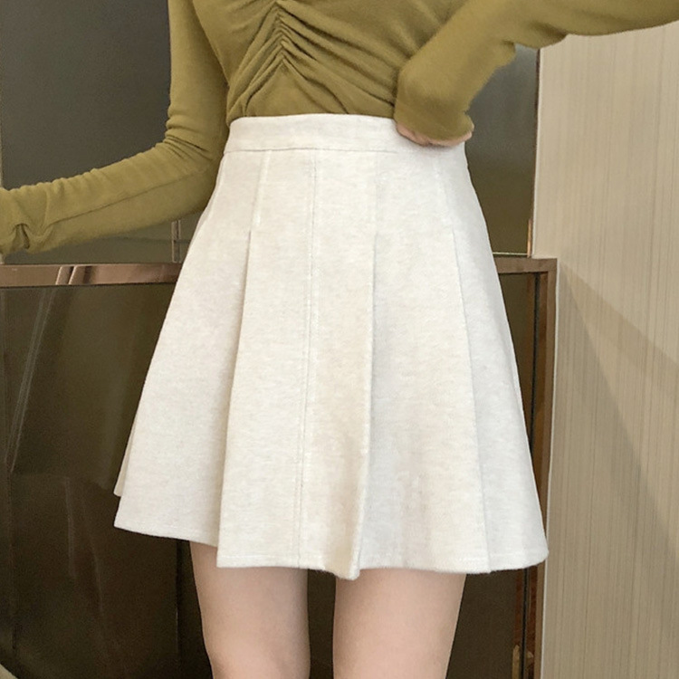 Skirt Super Fire Korean-style Skirt Autumn And Winter Woolen Solid Color Pleated Skirt High-waisted Versatile Short Skirt