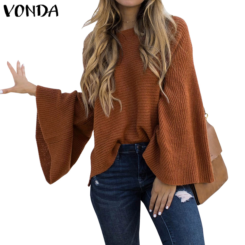 2019 VONDA Woman Bell Sleeve Blouse Autumn Winter Loose Knitwear Tops Pullover Shirts Plus Size Bohemian Party Blusas 5XL Tunics