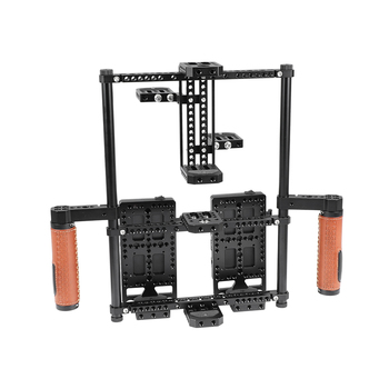 "HDRIG 2-in-1 Director's Monitor Cage Rig With Double Power Supply Splitters Leather-covered Hand Grips Kit For 5"" 7"" LCD Monitor"
