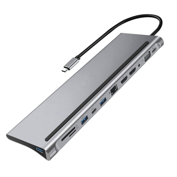 12-in-1 Type-C HUB 4K Docking station dual HDMI RJ45 Gigabit Lan PD   Laptop Docking Stations High Quality 1