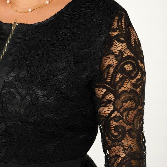 6XL Plus Size Lace Patchwork Blouse Women Spring Loong Sleeve Shirts Hollow Out Laides Tops Elegant Slim Blouses Blusas D30 3
