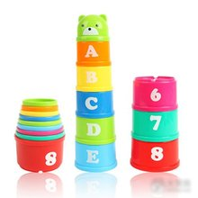 цена на 8PCS Stacking Cups Educational Baby Toys Bathtub Toys Figures Letters Stack Cup Tower Children Early Intelligence