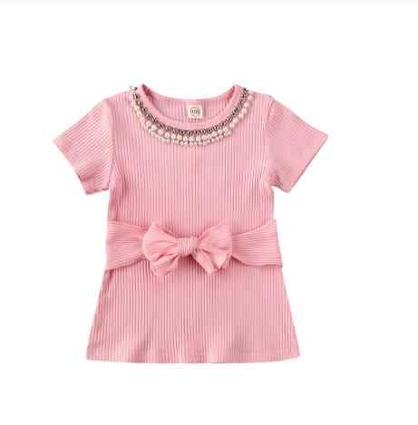 2020 Princess Infant Baby Girls Dress Pink Pearl Bowknot Mini A-Line Dress Summer Causal Dress