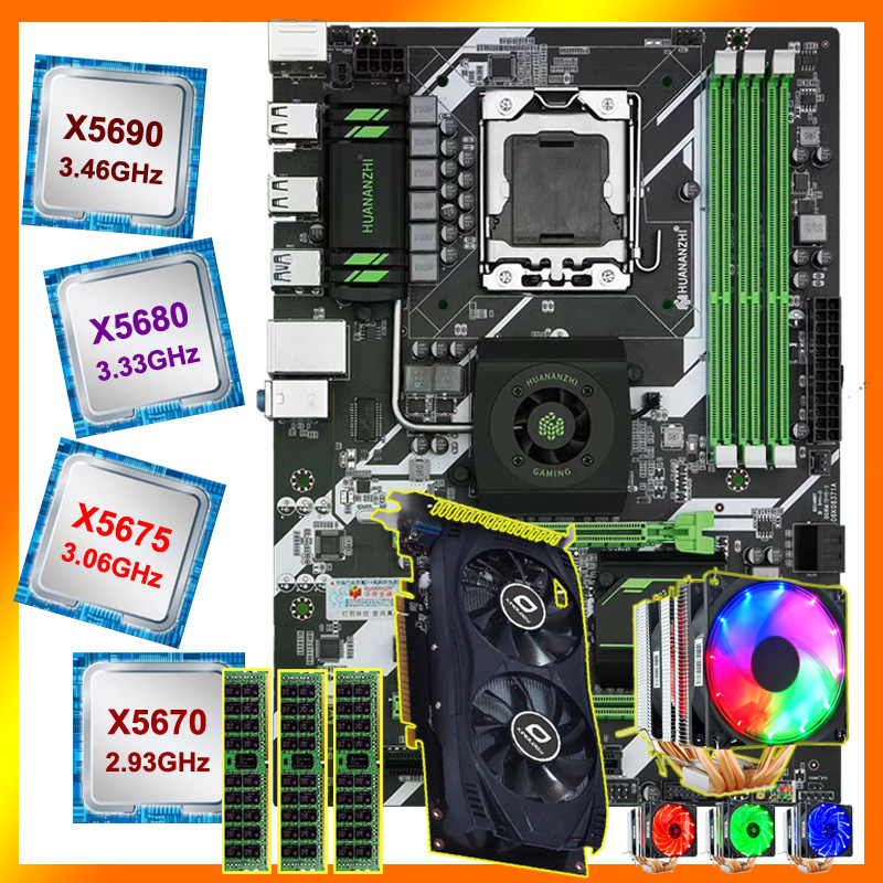 HUANANZHI X58 deluxe motherboard CPU Xeon X5670/X5675/X5680/X5690 with 6 heatpipes cooler RAM 24G(3*8G) RECC video card GTX750TI