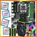 Huananzhi X58 Deluxe Moederbord Cpu Xeon X5670/X5675/X5680/X5690 Met 6 Heatpipes Cooler Ram 24G (3*8G) recc Videokaart GTX750TI