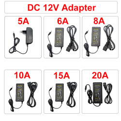 AC DC Power Supply Adapter 110V 220V To 12V 5A 10A 20A Switch plug LED Driver Transformer For Led Strip Security Cameras Webcam
