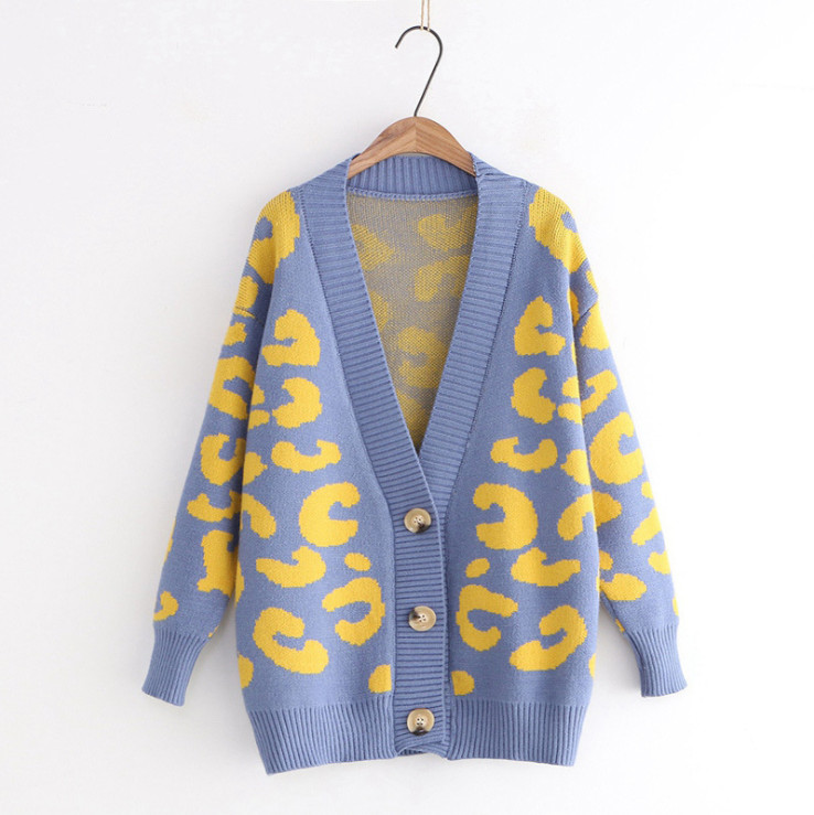 Women Leopard Print Cardigan Loose New Style Knitted Sweater Fashion Coat  Autumn Winter Warm Clothes