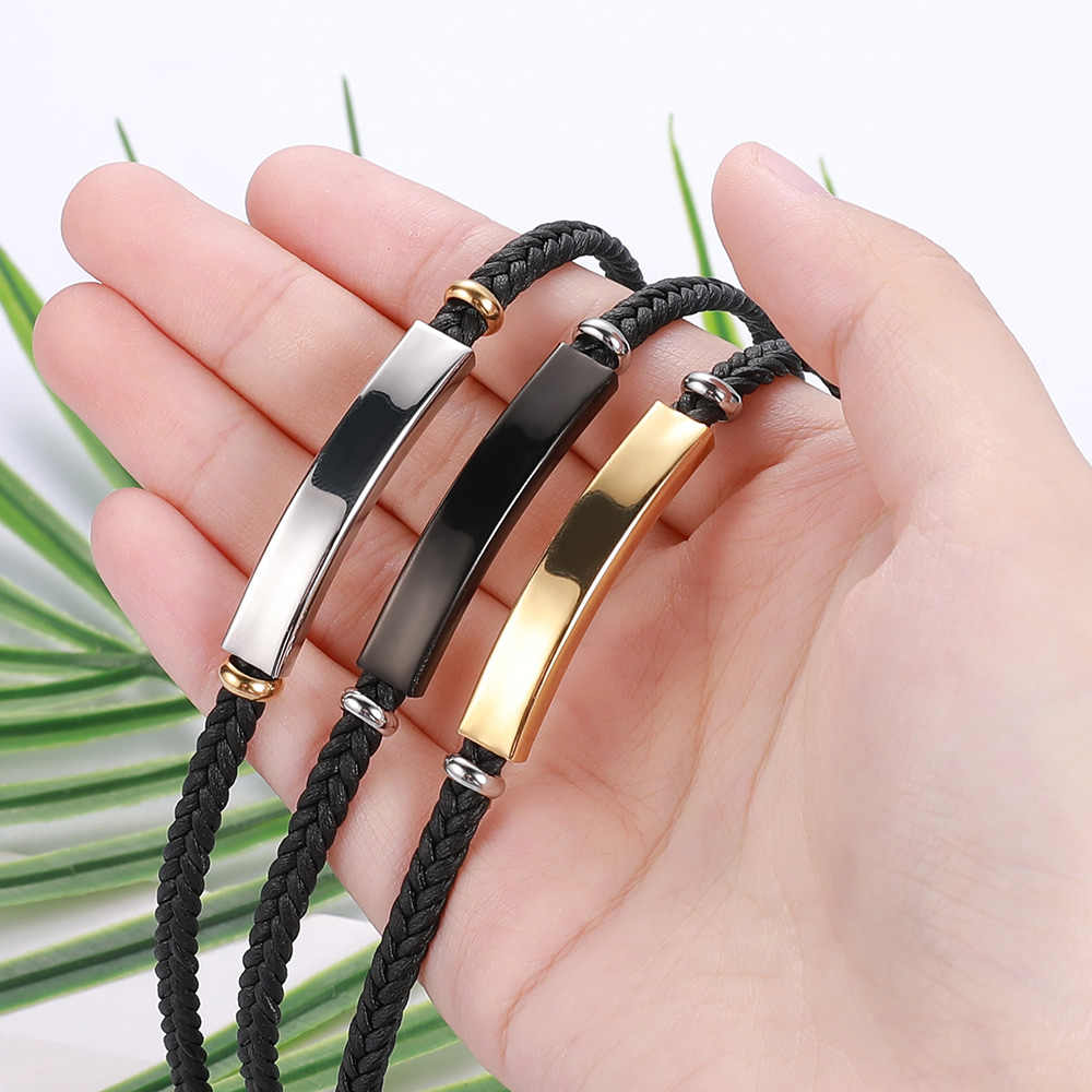 V.YA spersonalizowana biżuteria bransoletki ze stali nierdzewnej dla kobiet moda męska własne logo nazwa skórzana bransoletka akcesoria świąteczne