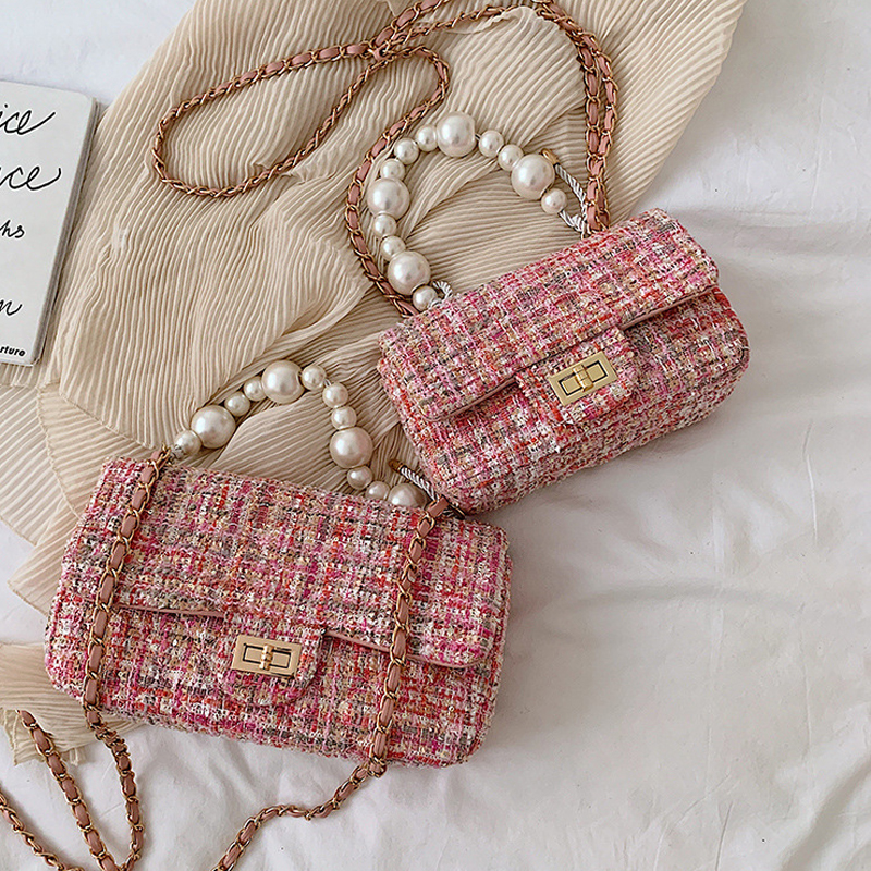 Fashion New Female Square Tote Quality Woolen Pearl Women's Designer Handbag Ladies Chain Shoulder Crossbody Bags