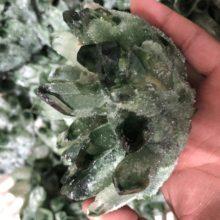 480g Verde Natural Fantasma Fantasma Cristal de Quartzo Cluster Specimen Cura