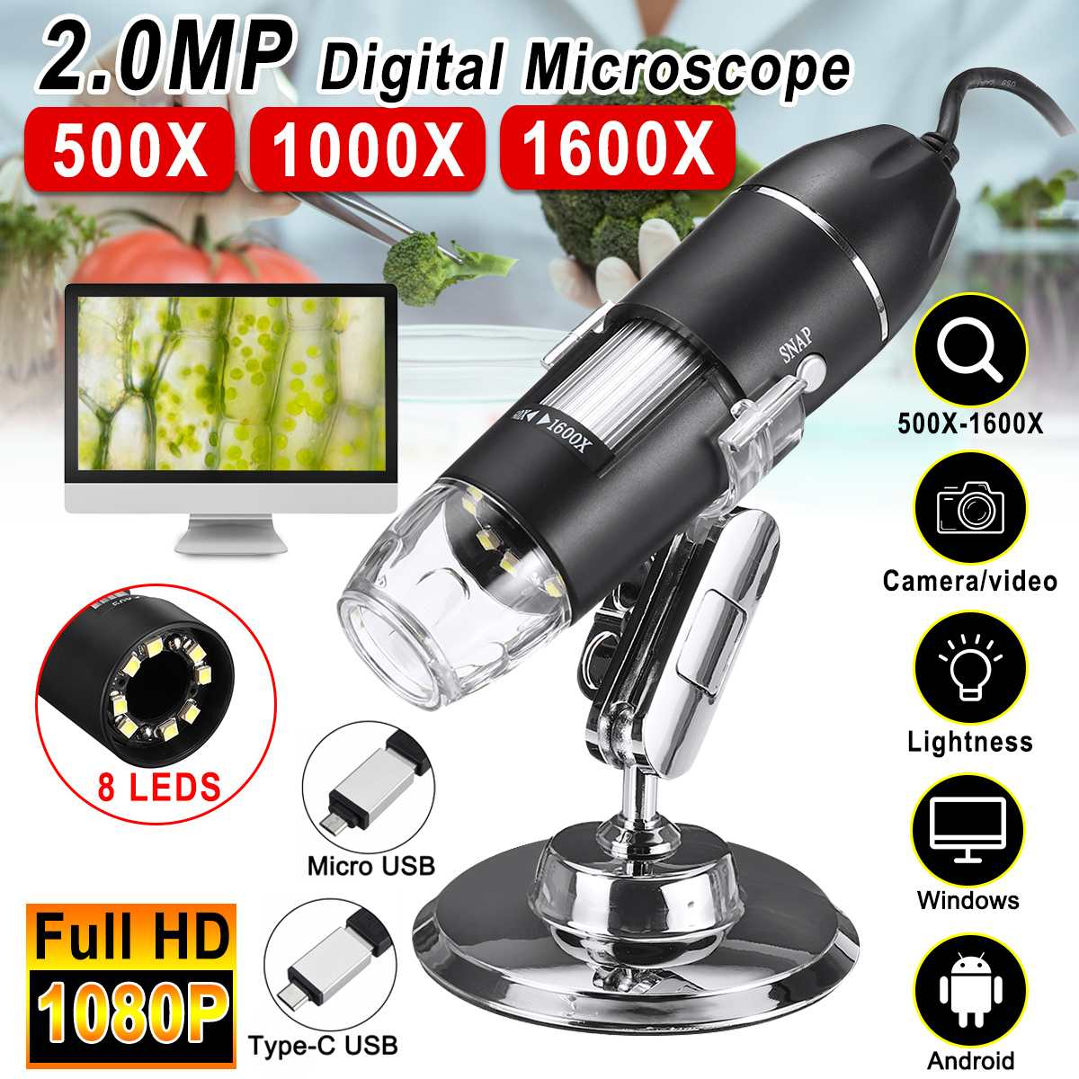 500X/1000X/1600X 3 In 1 2MP 1080P Handheld Digital Microscope Magnifier Camera With 8LEDs And Stand Adjustable Brightness