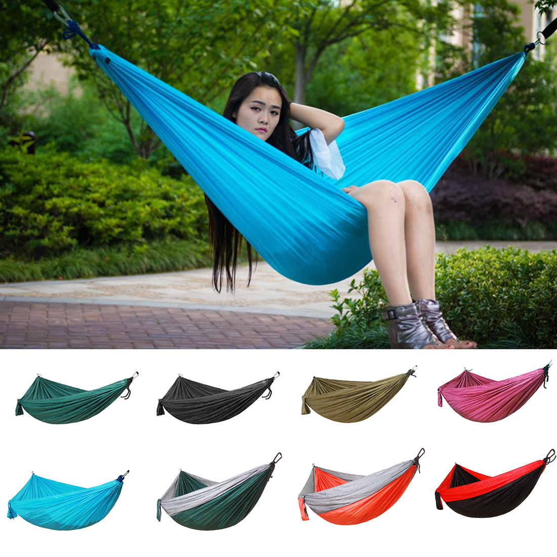 Double Hammock 210T Nylon Hanging Bed Durable Ultra-light Sleeping Bed Swing Outdoor Camping Travel 2 Persons With Carry Bag