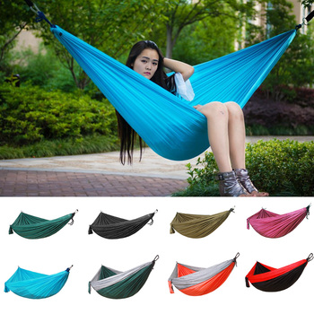 Double hammock 210T Nylon hanging bed durable ultra-light Sleeping Bed Swing Outdoor Camping Travel 2 Persons With Carry Bag super strength folding nylon hammock hanging swing hamak beach camping patio sleeping tree bed with 2 strap 2 carabiner