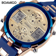 BOAMIGO Mens Watches Luxury Brand Men Sports Watches Fashion Quartz LED Digital 3 Clock Blue Military Watch relogio masculino
