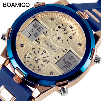 BOAMIGO Mens Watches Luxury Brand Men Sports Watches Fashion Quartz LED Digital 3 Clock Blue Military Watch relogio masculino