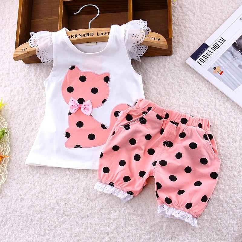 2020 Summer Korean Baby Girls Clothing Set Children Bow Cat Shirt And Shorts Suit 2pcs Kids Polka Dot Clothes Free Shipping 1