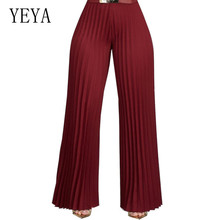 YEYA Women Summer Fashion Pants High Waist Pleated Wide Leg Loose Casual Palazzo Ladies Ankle Length Trousers