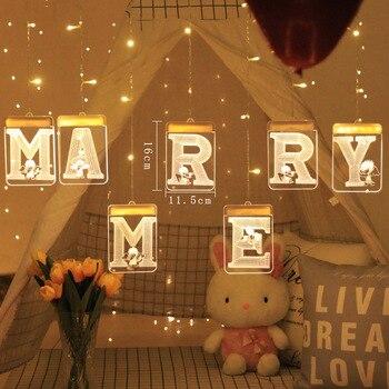 3D Luminous USB Interface Night Lamp LED Hanging Lighting String Party Decor Propose 'Marry Me' Love' Christmas Birthday Gift 3d led night light usb 3d luminous novelty lighting base table lamp home decor valentine s birthday christmas gifts