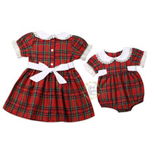 Christmas Toddler Kid Baby Girls Red Dress Girl Clothing Little Sister Rompers Big Sister Red Tutu Party Dress Xmas Kid Costumes