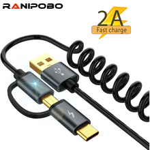 Spring Type C Cable Micro usb 2 in 1 Fas