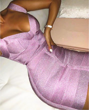 Signore Libere di Trasporto Sexy Scollo a V Backless Viola Brillante Vestito Dalla Fasciatura Delle Donne 2020 di Modo Del Progettista Sparkly Del Partito Del Vestito Vestido