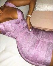 شحن مجاني للسيدات فستان مثير بعنق على شكل V بدون ظهر بنفسجي لامع للنساء 2020 فستان أنيق للحفلات سباركلي فيستدو