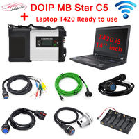 DOIP MB STAR C5 with Laptop T420 PC free V03.2020 software install SD C5 wifi connection ready to work for Mer cedes cars trucks