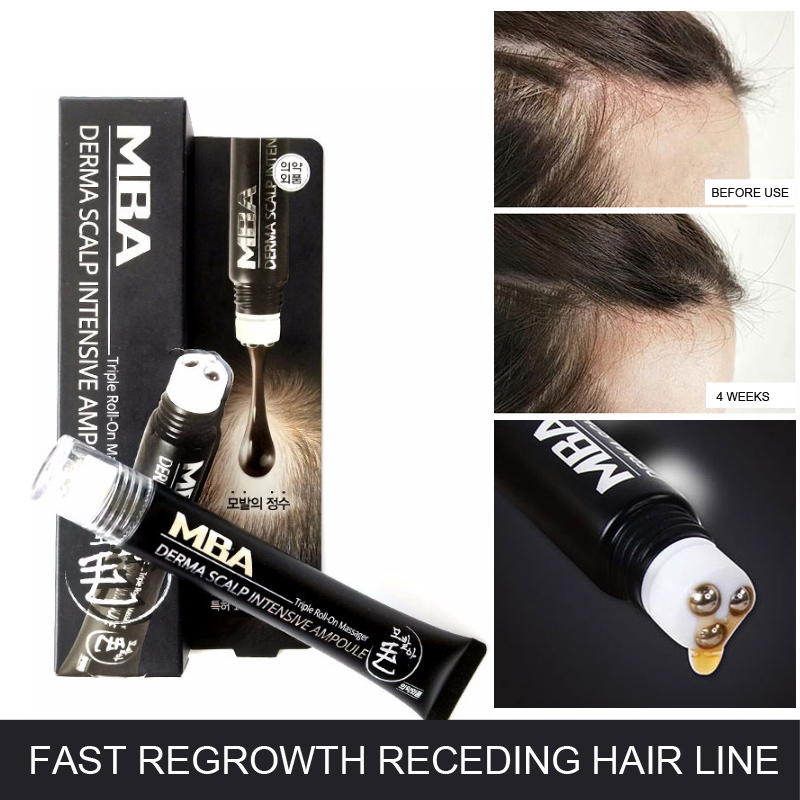 Hair Line Growth Serum Derma Scalp Intensive Ampoule Triple Roll Massager Fast Hair Regrow Hair Loss Essence