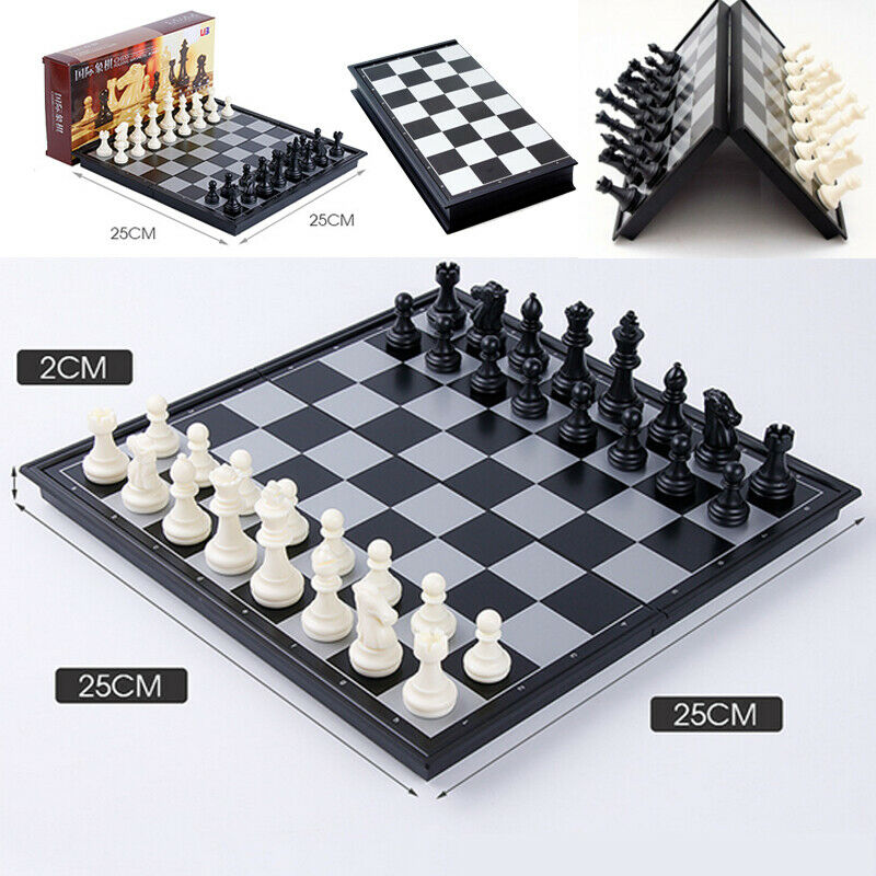 Folding Board Wooden International Chess Game Pieces Set Staunton Style Chessmen Collection Portable Board Game Outdoor