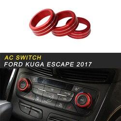 A/C przełącznik przycisk panelowy pokrywa wykończenia ramki naklejki wnętrze akcesoria dla Ford KUGA ucieczka 2017 2018 samochodów stylizacji w Naklejki samochodowe od Samochody i motocykle na