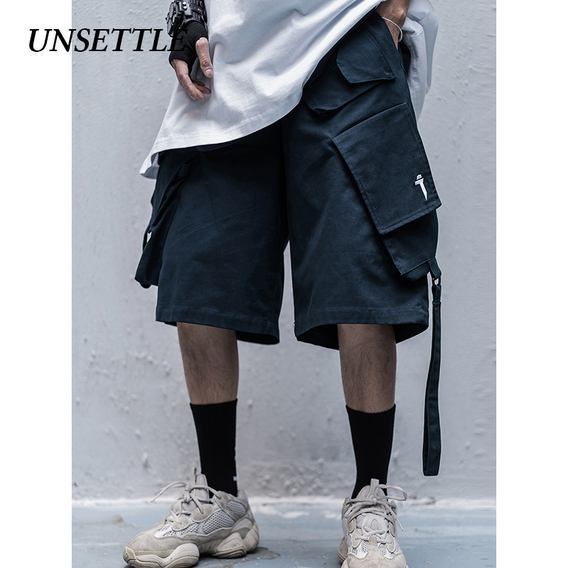 UNSETTLE 2020SS Side Ribbon Multi Pockets Cargo Shorts Mens Casual Summer Hip Hop Baggy Streetwear Male Joggers Short Pants