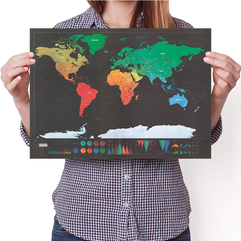 423X300mm Scratch Map Luxury World Map Decoration Deco Retro Vintage Poster Travel Scratch Off Map Globo Scratches School Office