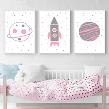 Wall Art Canvas Painting Cute Cartoon Spaceship Universe Wall Poster Nursery Print in Pink Nordic Kids Baby Room Decor Picture astronaut spaceship canvas poster nursery quotes wall art print cartoon painting nordic kids decoration pictures baby room decor