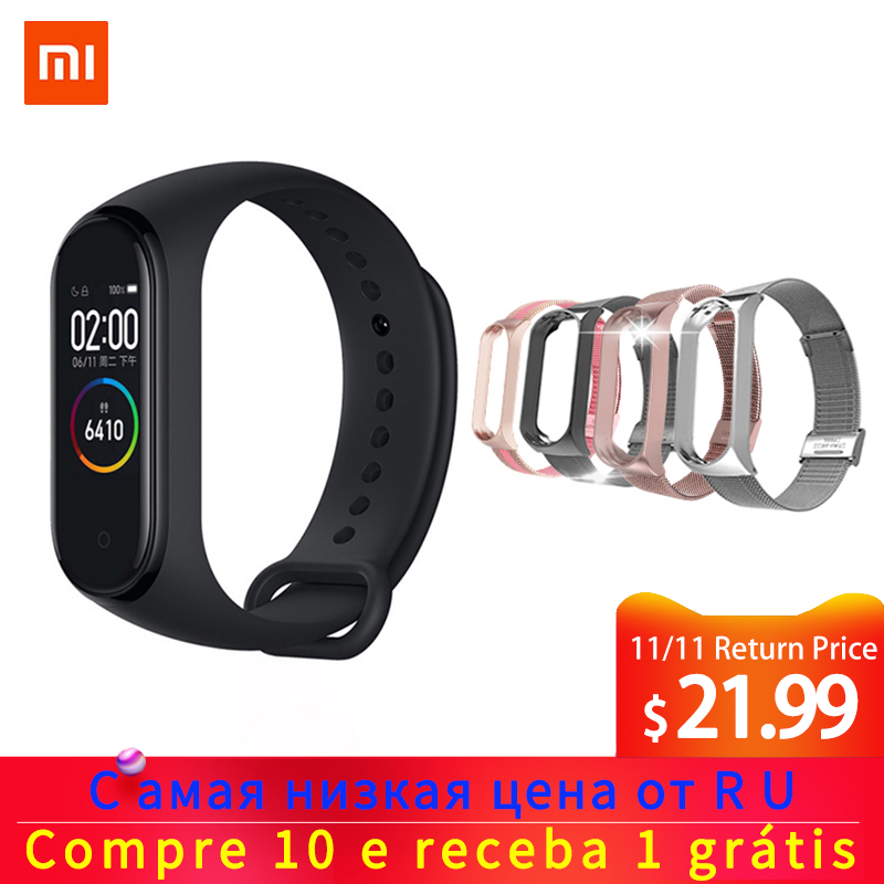Original Xiao mi mi Band 4 Bluetooth 5,0 Armband Fitness Armband AMOLED Farbe Touch Screen Musik AI Herz Rate