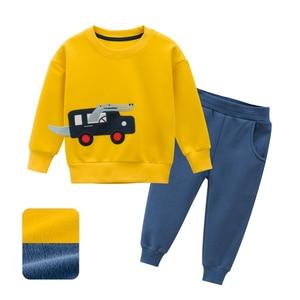 Image 1 - 봄 가을 어린이 소년 소녀 의류 면화 긴 소매 편지 세트 아동 의류 Tracksuit 아기 티셔츠 바지 2 Pcs/Suit