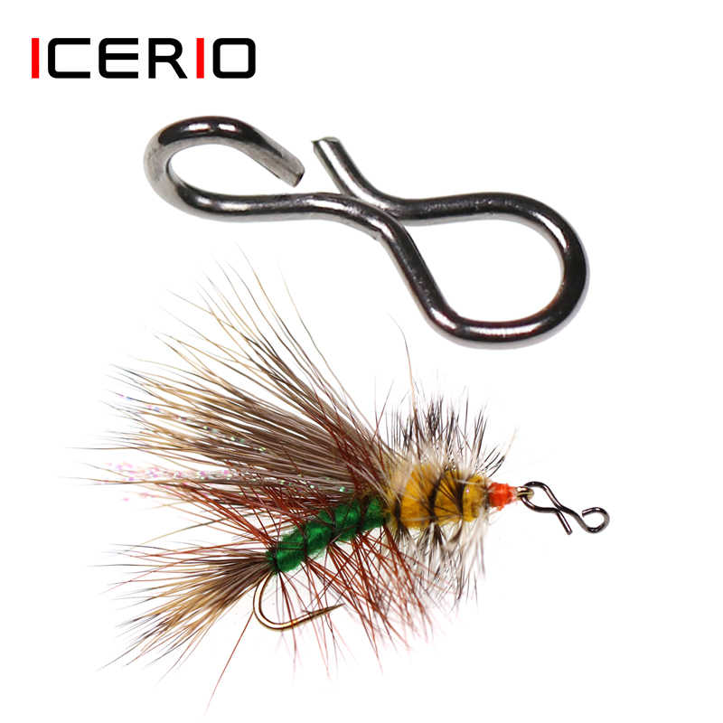 50pcs Fly fishing snap Quick Change For Flies Hook Stainless Lures steel M7H5