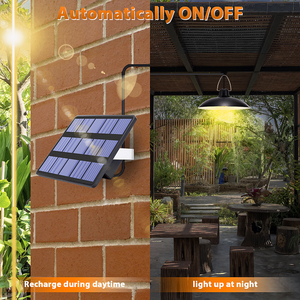 Image 3 - Solar Light With Solar Panel Hanging For Indoor Outdoor Lighting Solar Lamp With 9.8FT Cord Sunlight Pendant Ceiling Porch