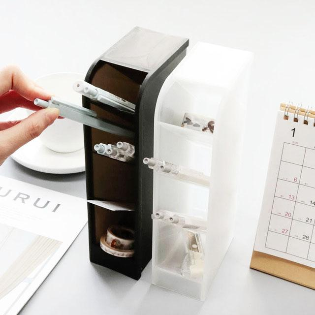 4 Grid Desktop Pen Holder Office School Storage Case White Black Plastic Box Desk Pencil Organizer Makeup Brushes Case Box
