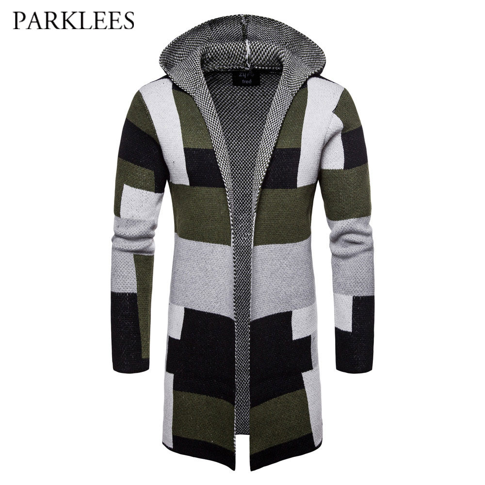 Long Hooded Cardigan Sweater Men 2020 Autumn Winter Mens Patchwork Knitted Sweaters Coat Casual Slim Trench Pull Homme Outwear