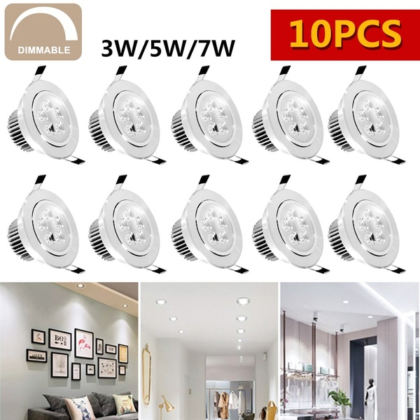 10 PCS LED Dimmable Ceiling Downlight Recessed Cabinet Wall Spot Light Down Lamp Spot Light With LED Driver 3/5/7W 220-240V image