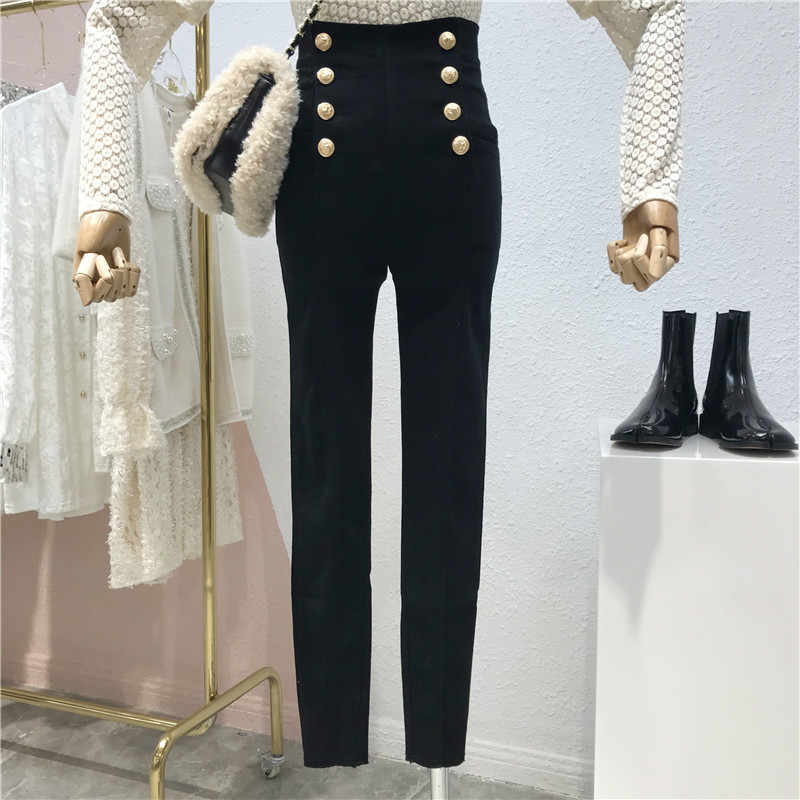 Fashionable Double-Row Black Pants Women Slim-Fit 2020 Spring Pencil Pants High Waist Trousers Boots Legins Leginsy