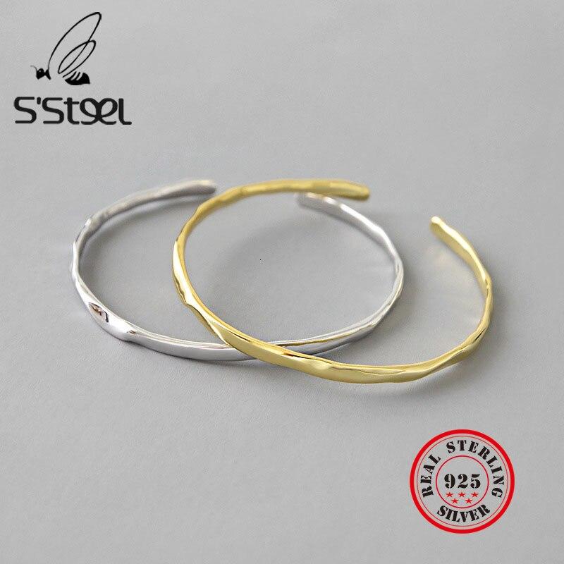 S'STEEL pur 925 en Argent Sterling bracelets pour femmes deux couleurs irrégulières manchette Bracelet Argent 925 Femme Regalos Para Mujer bijoux