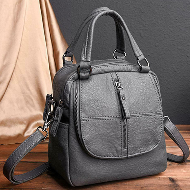 PU Leather Multipurpose Backpack Shoulder Bag Zipper For Mobile Phone Keys Travel FEA889