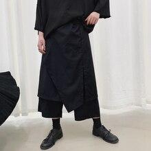 Мужские повседневные широкие брюки с юбкой, Мужская Уличная одежда в стиле панк, готика, хип-хоп, шаровары, штаны-кимоно в японском стиле, стильная одежда