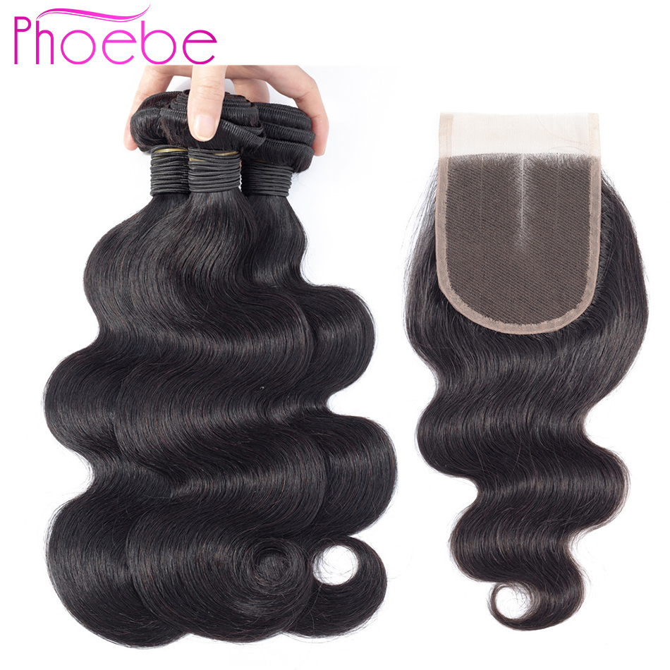 Phoebe Malaysia Body Wave Human Hair Bundles With Lace Closure Natural Color Remy Hair 3 Bundles