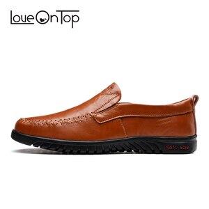 Image 3 - Мужская повседневная обувь из натуральной кожи, мягкие мокасины, коричневые лоферы, большие размеры 47, уличная удобная обувь для вождения без застежки